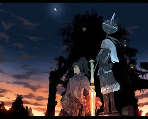 Rating: Safe Score: 25 Tags: black_hair boots cape clouds dawn jpeg_artifacts moon ponytail scenic sky sunset sword teikoku_shounen tree weapon white_hair User: rodri1711