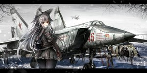 Rating: Safe Score: 113 Tags: aircraft animal_ears blush brown_hair combat_vehicle foxgirl gray_hair hagurumadaze long_hair male original pantyhose red_eyes snow translation_request User: RyuZU