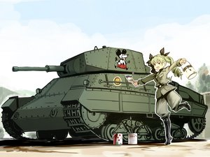 Rating: Safe Score: 14 Tags: anchovy boots brown_eyes combat_vehicle girls_und_panzer green_hair long_hair twinpoo twintails uniform waifu2x User: RyuZU
