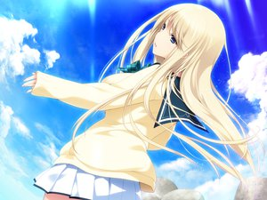 Rating: Safe Score: 136 Tags: blonde_hair blue_eyes clouds game_cg iizuki_tasuku long_hair lovely_x_cation seifuku skirt sky tagme_(character) User: Wiresetc