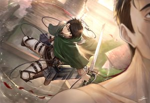 Rating: Safe Score: 30 Tags: all_male black_eyes black_hair blood levi_ackerman male shingeki_no_kyojin short_hair signed sword tenyo0819 weapon User: RyuZU