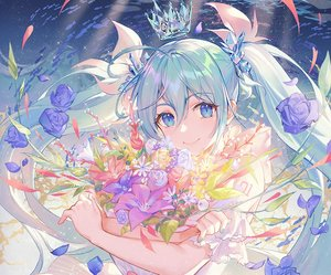 Rating: Safe Score: 84 Tags: aqua_eyes aqua_hair atdan cropped crown dress flowers hatsune_miku long_hair petals rose tattoo twintails underwater vocaloid water User: otaku_emmy