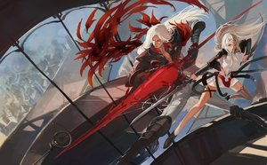 Rating: Safe Score: 101 Tags: armor blue_eyes dress long_hair male original pixiv_fantasia quaanqin red_eyes spear weapon white_hair User: Flandre93