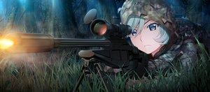 Rating: Safe Score: 28 Tags: aqua_eyes forest front_wing game_cg gloves grass grisaia:_phantom_trigger gun kumashiro_megumi military short_hair tree uniform watanabe_akio weapon User: RyuZU