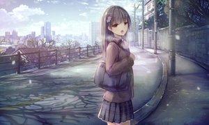 Rating: Safe Score: 51 Tags: apple228 brown_eyes brown_hair clouds landscape long_hair original scenic seifuku skirt sky snow winter User: RyuZU