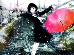 Rating: Safe Score: 24 Tags: mikimoto_haruhiko snow train umbrella User: Oyashiro-sama