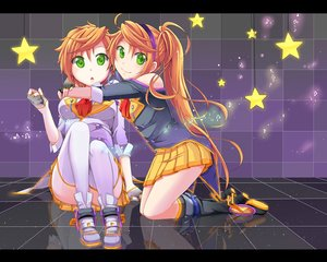 Rating: Safe Score: 50 Tags: 2girls aira_(exp) anon_(vocaloid) boots gloves green_eyes hug kanon_(vocaloid) long_hair orange_hair ponytail short_hair skirt thighhighs twins vocaloid User: FormX