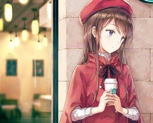 Rating: Safe Score: 265 Tags: aikatsu! bow brown_hair cape cropped drink hat hiten_goane_ryu long_hair purple_eyes shibuki_ran waifu2x User: mattiasc02