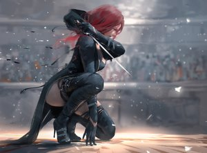 Rating: Safe Score: 408 Tags: ghostblade lenia_(ghostblade) long_hair red_hair sword thighhighs weapon wlop User: BattlequeenYume