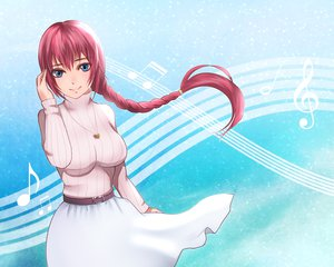 Rating: Safe Score: 50 Tags: asanome_(noboes) blue_eyes braids megurine_luka red_hair vocaloid User: FormX