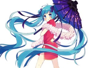 Rating: Safe Score: 85 Tags: 64hijiki aqua_eyes aqua_hair chinese_clothes chinese_dress dress hatsune_miku long_hair ribbons twintails umbrella vocaloid User: FormX