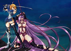 Rating: Questionable Score: 170 Tags: armor breasts chain fate/hollow_ataraxia fate/stay_night long_hair nipples onaya_masakazu purple_hair rider saber sword thighhighs weapon User: HawthorneKitty