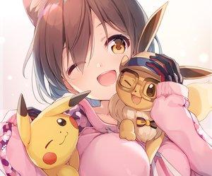 Rating: Safe Score: 53 Tags: animal_ears brown_eyes brown_hair catgirl close cropped crossover eevee gloves hololive hoodie nijihashi_sora pikachu pokemon roboco-san scan short_hair wink User: sadodere-chan