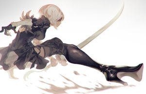 Rating: Safe Score: 38 Tags: blindfold boots fajyobore323 nier nier:_automata sword weapon yorha_unit_no._2_type_b User: FormX