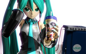 Rating: Safe Score: 30 Tags: 3d drink food green_eyes green_hair hatsune_miku headphones long_hair redjuice tie tripshots twintails vocaloid User: kn8485909