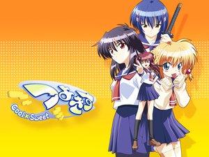 Rating: Safe Score: 5 Tags: kanisawa_kinu konoe_sunao kurogane_otome school_uniform sword tsuyokiss_cool_x_sweet weapon yashi_nagomi User: Oyashiro-sama