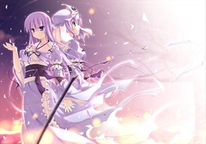 Rating: Safe Score: 137 Tags: blush long_hair petals purple_eyes purple_hair ribbons saigyouji_yuyuko saigyouji_yuyuko_(living) t-ray touhou User: 02