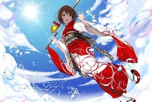 Rating: Safe Score: 50 Tags: blush brown_hair clouds gibun_(sozoshu) japanese_clothes kimono original short_hair sky water User: BattlequeenYume