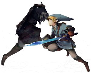 Rating: Safe Score: 18 Tags: all_male aqua_eyes blonde_hair boots dark_link gloves gray_hair hat link_(zelda) male pointed_ears red_eyes rrrrr_(hasui) sword the_legend_of_zelda weapon white User: otaku_emmy