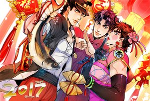 Rating: Safe Score: 15 Tags: all_male animal aqua_eyes black_hair catsizuru chinese_clothes chinese_dress dress elbow_gloves fish gloves hat japanese_clothes jojo_no_kimyou_na_bouken jonathan_joestar joseph_joestar kuujou_joutarou male necklace short_hair signed wristwear User: otaku_emmy