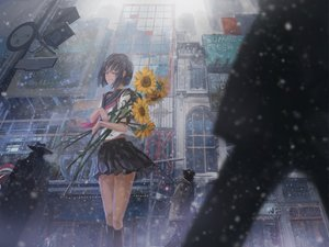 Rating: Safe Score: 101 Tags: archlich black_hair city flowers original seifuku short_hair snow sunflower User: opai