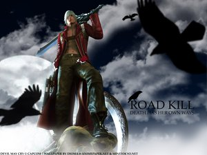 Rating: Safe Score: 22 Tags: animal bird blonde_hair bones boots clouds dante devil_may_cry gun male moon open_shirt sky sword weapon User: Oyashiro-sama