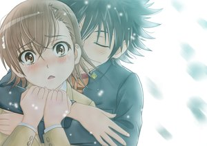 Rating: Safe Score: 95 Tags: black_hair blush brown_eyes brown_hair h.i.t_(59-18-45) hug kamijou_touma male misaka_mikoto snow tears to_aru_majutsu_no_index User: Freenight