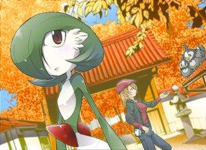 Rating: Safe Score: 64 Tags: animal autumn bird blonde_hair blush gardevoir green_hair hat kaeru_ace pokemon red_eyes starly tree User: SonicBlue