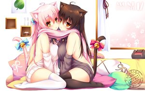 Rating: Safe Score: 184 Tags: 2girls animal_ears blush bow breasts brown_hair catgirl long_hair mia_flatpaddy original pink_hair scarf shia_flatpaddy syroh tail thighhighs watermark yellow_eyes User: RyuZU