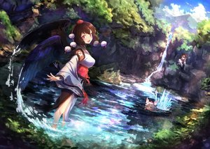 Rating: Safe Score: 40 Tags: animal_ears brown_hair clouds gray_hair himekaidou_hatate inubashiri_momiji japanese_clothes red_eyes shameimaru_aya short_hair siyajiyatouhou sky touhou tree water waterfall wings wolfgirl User: RyuZU