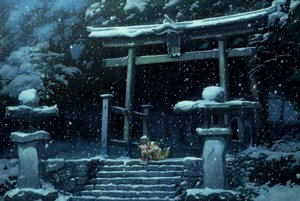 Rating: Safe Score: 199 Tags: animal boots brown_hair earmuffs forest fox nekotama night original scarf snow stairs torii tree winter User: FormX