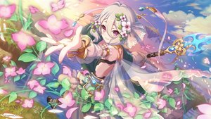 Rating: Safe Score: 88 Tags: clouds flowers gray_hair natsume_kokoro petals pink_eyes princess_connect! see_through short_hair sky spear tagme_(artist) weapon User: RyuZU
