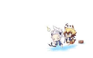 Rating: Safe Score: 16 Tags: 2girls animal_ears blonde_hair chibi foxgirl gray_hair original reku sanbi_(character) shiroko_(character) tail white User: SciFi