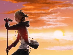 Rating: Safe Score: 62 Tags: blonde_hair clouds headphones kagamine_len microphone ponytail shirano sky sunset vocaloid User: HawthorneKitty