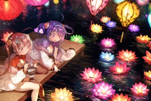 Rating: Safe Score: 43 Tags: 2girls anthropomorphism azur_lane breasts chinese_clothes chinese_dress cleavage flowers food long_hair ning_hai_(azur_lane) ping_hai_(azur_lane) pink_eyes pink_hair purple_eyes purple_hair thighhighs twins twintails water zuizi User: BattlequeenYume