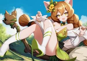Rating: Safe Score: 31 Tags: animal_ears ankkoyom braids clouds dress idle_heroes long_hair sky tail twintails User: BattlequeenYume
