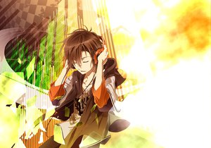 Rating: Safe Score: 111 Tags: hakumai_(jamaika) headphones male takigawa_yoshino zetsuen_no_tempest User: Wiresetc