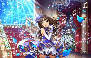 Rating: Safe Score: 6 Tags: aqua_eyes bow brown_hair dress elbow_gloves flowers gloves idolmaster idolmaster_cinderella_girls idolmaster_cinderella_girls_starlight_stage long_hair microphone music petals shibuya_rin stairs tagme_(artist) thighhighs User: RyuZU