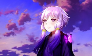 Rating: Safe Score: 23 Tags: butterfly clouds long_hair purple_eyes purple_hair sky technoheart twintails vocaloid voiceroid waifu2x yuzuki_yukari User: RyuZU