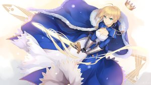 Rating: Safe Score: 28 Tags: blonde_hair bzerox cape crown dress fate_(series) fate/stay_night gloves green_eyes saber short_hair sword weapon User: RyuZU