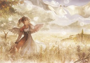 Rating: Safe Score: 95 Tags: black_hair dress grass landscape leaves necklace original scenic signed taka_(fishdrive) tree twintails wings User: Flandre93