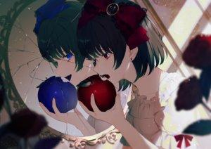 Rating: Safe Score: 52 Tags: 2girls achiki apple blue_eyes bow crying fang flowers food fruit lolita_fashion mirror original red_eyes reflection rose short_hair tears User: otaku_emmy