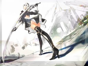 Rating: Questionable Score: 64 Tags: ass dress gloves gray_hair headband nier nier:_automata panties sword tagme_(artist) thighhighs underwear weapon yorha_unit_no._2_type_b User: Jahta