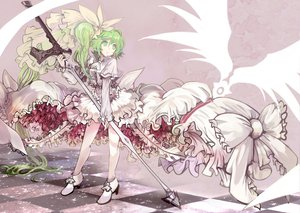 Rating: Safe Score: 88 Tags: dress green_eyes green_hair long_hair original ryuuri_susuki sword weapon User: HawthorneKitty