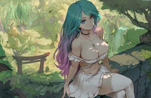 Rating: Safe Score: 117 Tags: aqua_eyes breasts choker cleavage cutesexyrobutts forest green_hair long_hair no_bra shade signed silvervale silvervale_(channel) skirt_lift thighhighs torii tree User: gnarf1975