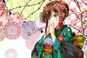 Rating: Safe Score: 19 Tags: blush braids brown_hair flowers geroro green_eyes headdress japanese_clothes kimono original waifu2x User: otaku_emmy