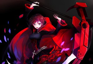 Rating: Safe Score: 207 Tags: cape cross dress gray_eyes judy6241 pantyhose petals red_hair ruby_rose rwby scythe short_hair weapon User: FormX