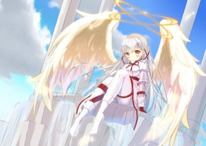 Rating: Safe Score: 49 Tags: blush bodysuit clouds feathers gray_hair halo long_hair merc_storia millea orange_eyes sky tagme_(character) wings User: otaku_emmy