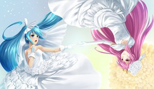 Rating: Safe Score: 57 Tags: blue_eyes blue_hair crown elbow_gloves flowers gloves hatsune_miku megurine_luka pink_eyes pink_hair rose tokumaro vocaloid wedding_dress User: FormX