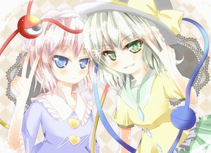 Rating: Safe Score: 47 Tags: 2girls blue_eyes blush bow gray_hair green_eyes hat heart komeiji_koishi komeiji_satori pink_hair shirt short_hair skirt touhou yuimari User: ガラス